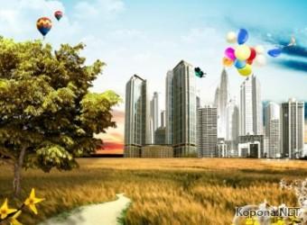 Красивый пейзажный PSD-исходник - 34 (PSD)