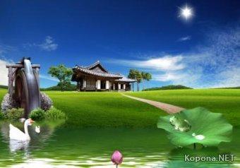 Красивый пейзажно-китайский PSD-исходник - 52 (PSD)