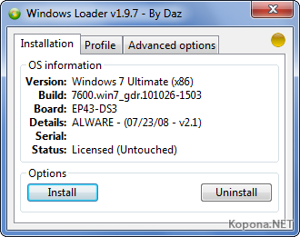 Windows Loader v1.9.7 by Daz