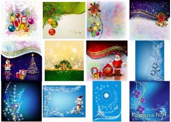 Рождественские и Новогодние векторные фоны 2 - EPS, Ai